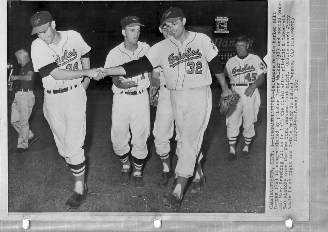 Dad congratulated by Jerry Walker after win against Yanks in 1960